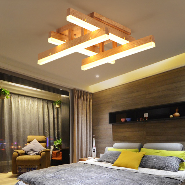 Nordic Solid Wood LED Chandelier Modern Simple Living Room Dining Room  Living Room Lamp Bedroom Light