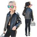 New Kids Leather Jacket Girls Outerwear 2016 Fashion Spring And Autumn Faux Leather 3-12Y Baby Girl Jackets infant Girl Coat