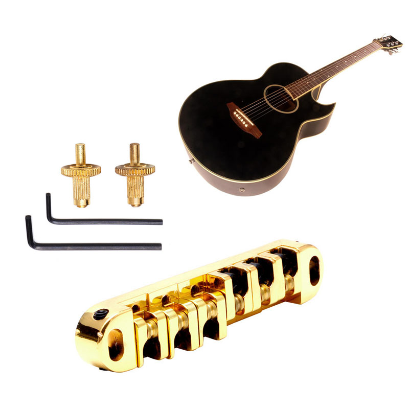Locking Roller Saddle Guitar Bridge with Studs Spanner for Gibson Les Paul Guitar Parts Accessories
