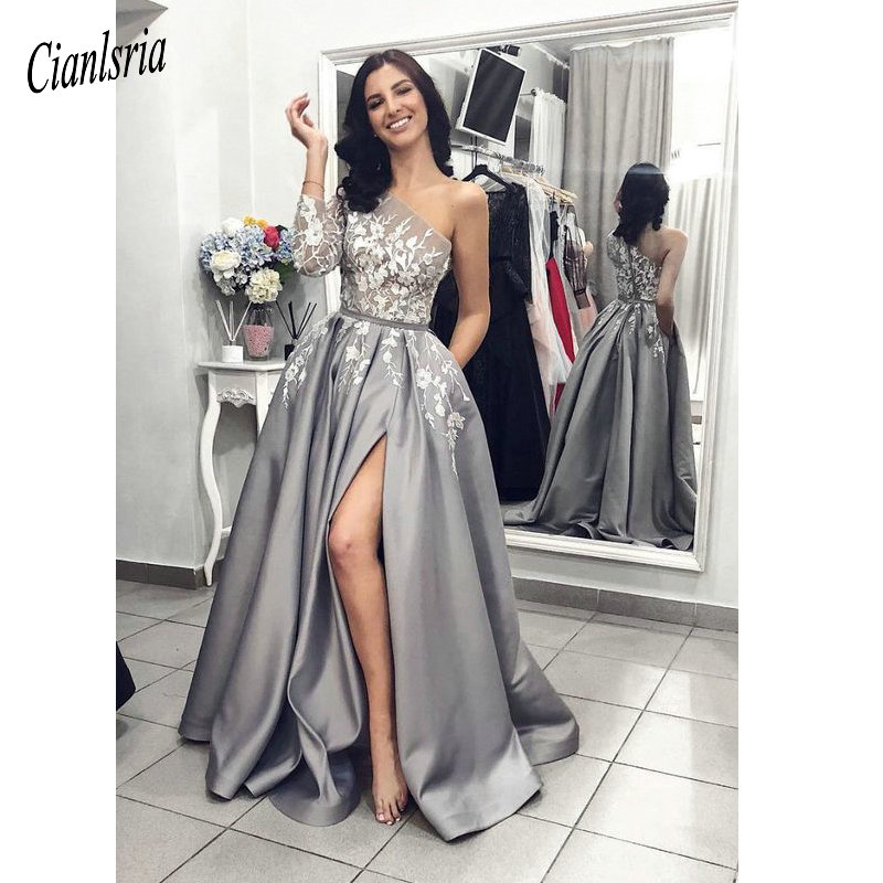 Vinca sunny Sexy evening   dresses   with slit one shoulder   prom     dress   satin women patry gown formal party   dress   vestido de festa