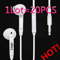 Factory Outlets 20pcs Lot S6 Headsets In Ear Earphones Headphones Hands Free With Mic Logo For