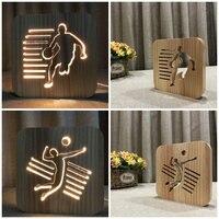 Sport Decorative Nightlight Wooden 3D Night Light DIY Customize Lamp Basketball Volleball Tabel Lamp LED Lighting Gift IY801101