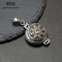 925 Sterling Silver Floating Locket Pendant Antique Openable Shurangama Mantra Pendants For Women Tibetan Buddhism Jewelry