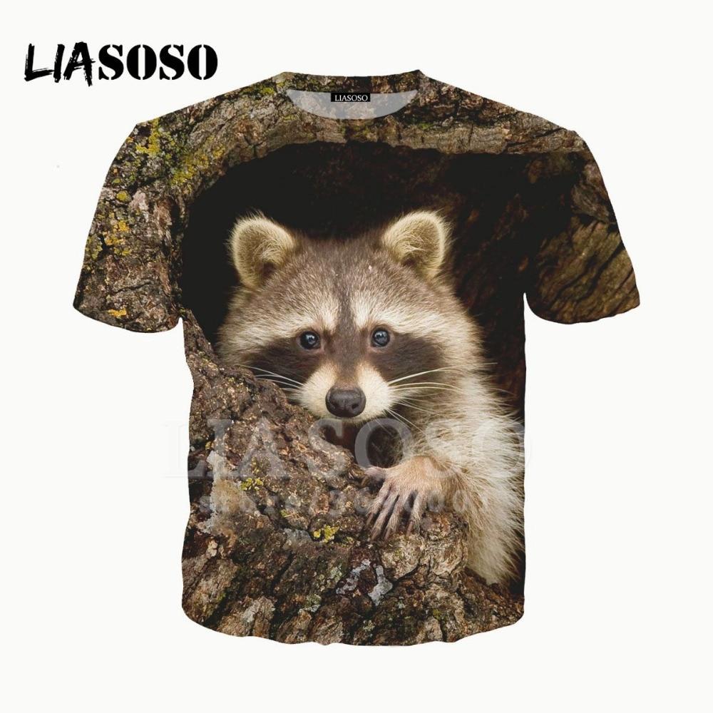 441554259 LIASOSO NEW 3D Print Women Men Cute Animals Raccoon Procyon lotor Tshirt  Summer T-shirt