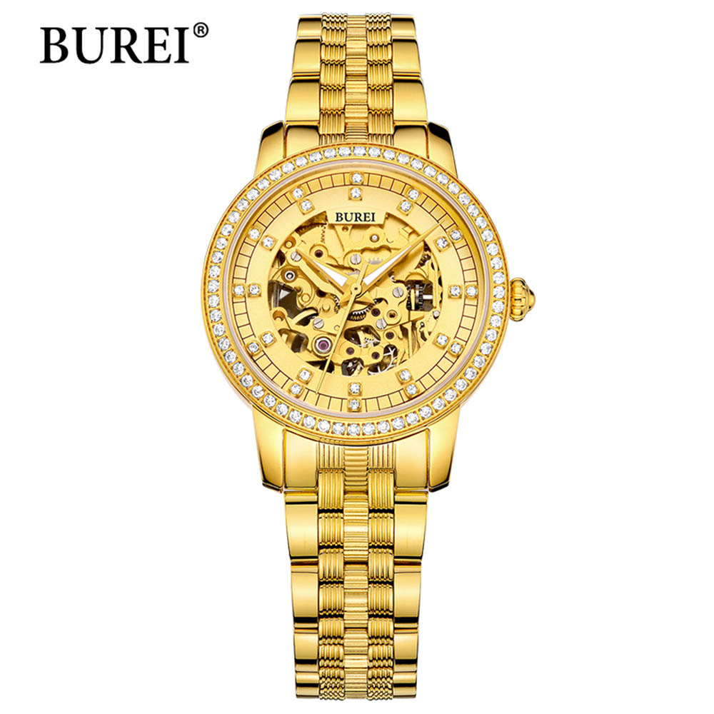 Reloj Mujer 2017 Luxury Womens Wristwatch Gold Automatic Mechanical Watch Fashion Ladies Watch Luxury Clock Women Montre Femme antique style luxury vintage gold mechanical hand winding pocket watch pendant with fob chain for mens womens reloj de bolsillo