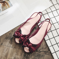 Jookrrix 2018 New Summer Fashion Brand Girl Slipper Bow Jelly Shoes Women Black Lady Slides Slip On Mules Candy Color Soft Flats