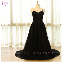 Waulizane Elegant Simple Style Scoop Evening Dresses Classical Black Dress Plus Size Lace Up Natural Customize