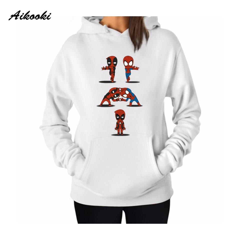 Aikooki Deadpool Hoodies Women Men Pink Long Sleeve Fashion Funny Hooded Sweatshirts Cartoon Kawaii Print Sweatshirt Brand Coat
