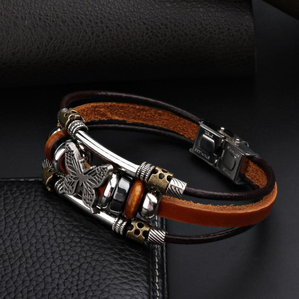 Butterfly Charm Leather Bracelet for Women