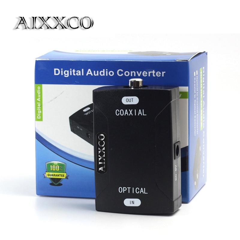 AIXXCO TOSlink Optical Digital Audio to Coaxial Converter 24bit/192K HD sampling Optical audio signals to Coaxial audio signals