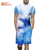 New Fashion 3d Men Romper Summer Men Short Sleeve Jumpsuit Leaf/Cat/Tiger Print Male Casual Overalls One Piece Rompers