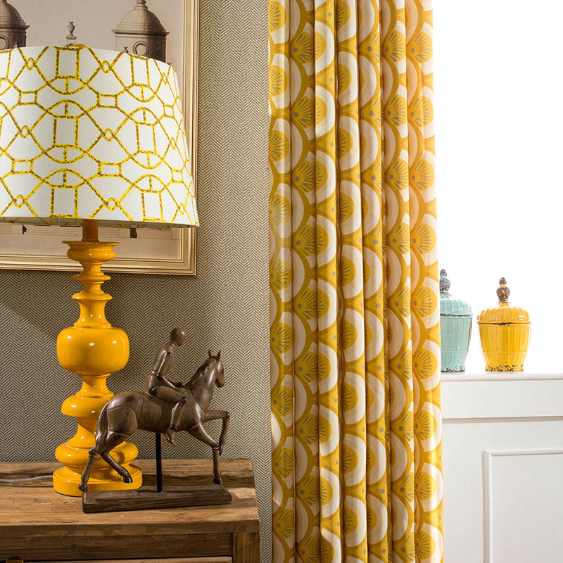 Online Shop Simple Geometric Cotton Yellow Curtain Curtains For Bedroom  Curtains For Living Room Modern Curtains