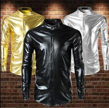fashion slim sexy shirt men Metallic bright face stand collar shirt camisa teenage Hot stamping long sleeve shirts mens shirt цена