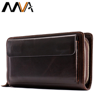 MVA Men's Clutch Male Wallet Men's Genuine Leather Double Zipper Clutch Bags purse for men Passport Phone Wallets credit card