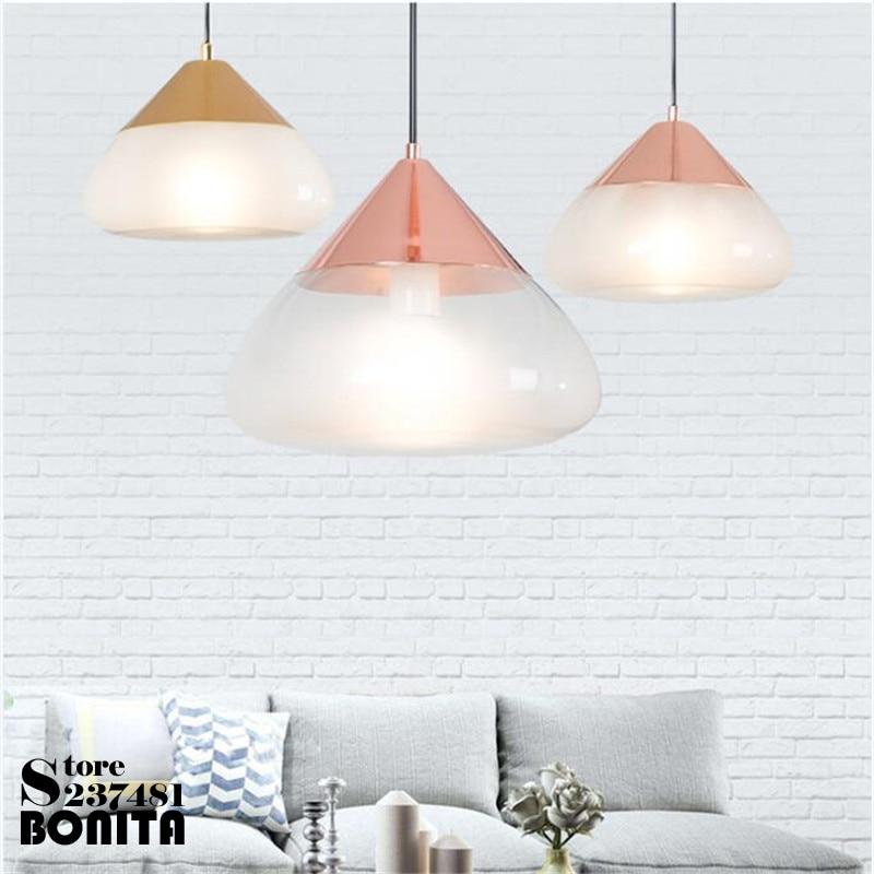Lampe suspendue en verre Transparent pour salle à manger minimaliste nordique post, or/or Rose/argent