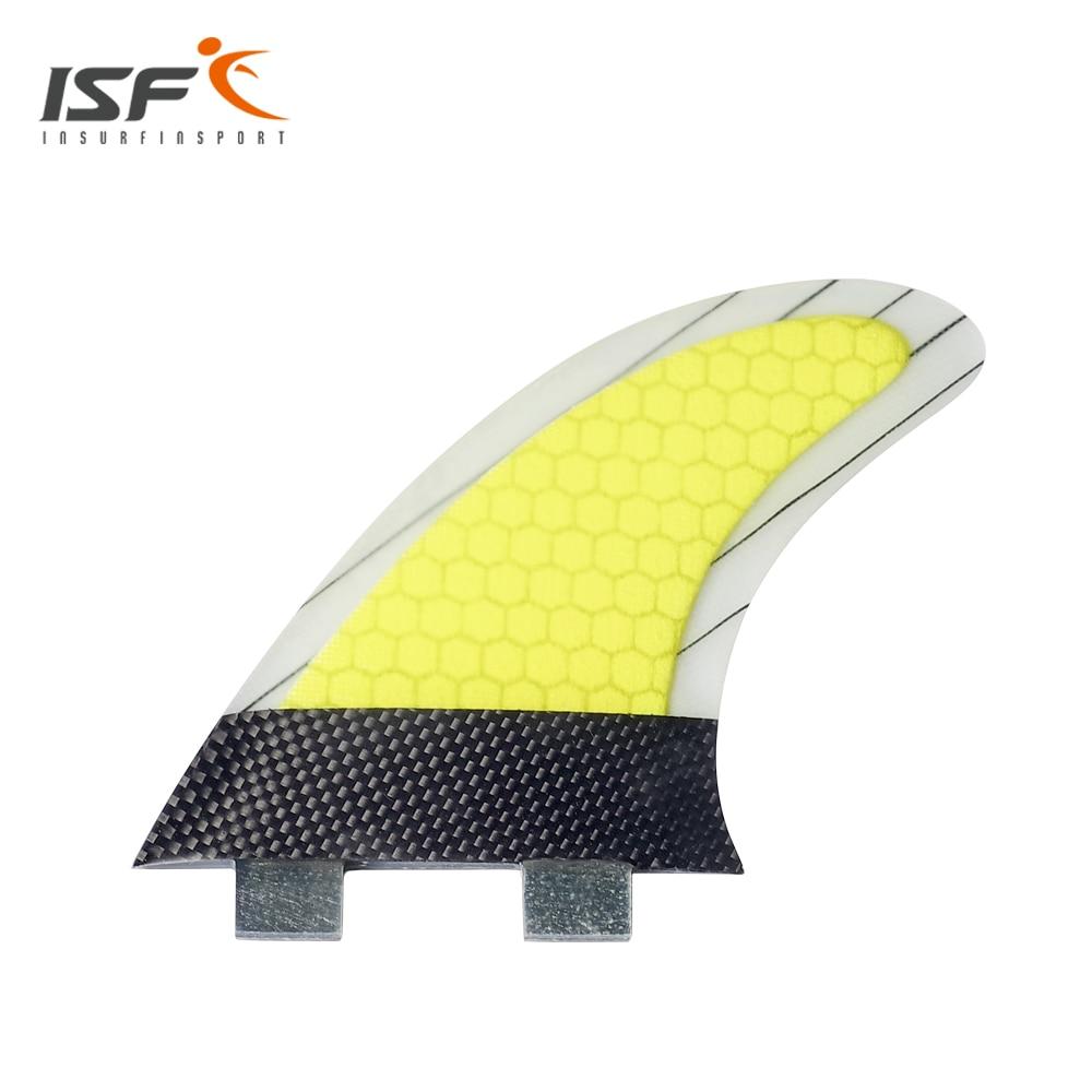 Ensemble d'aileron de surf quilhas de haute qualité thruster (3) fcs fibre de verre carbone palmes de surf fcs bande jaune ailette de surf fcs G7