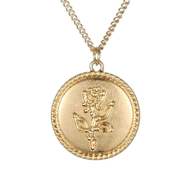 Fairy&Vintage Round Pendant Rose Pattern Thin Chain Jewelry Charm Necklace Gift