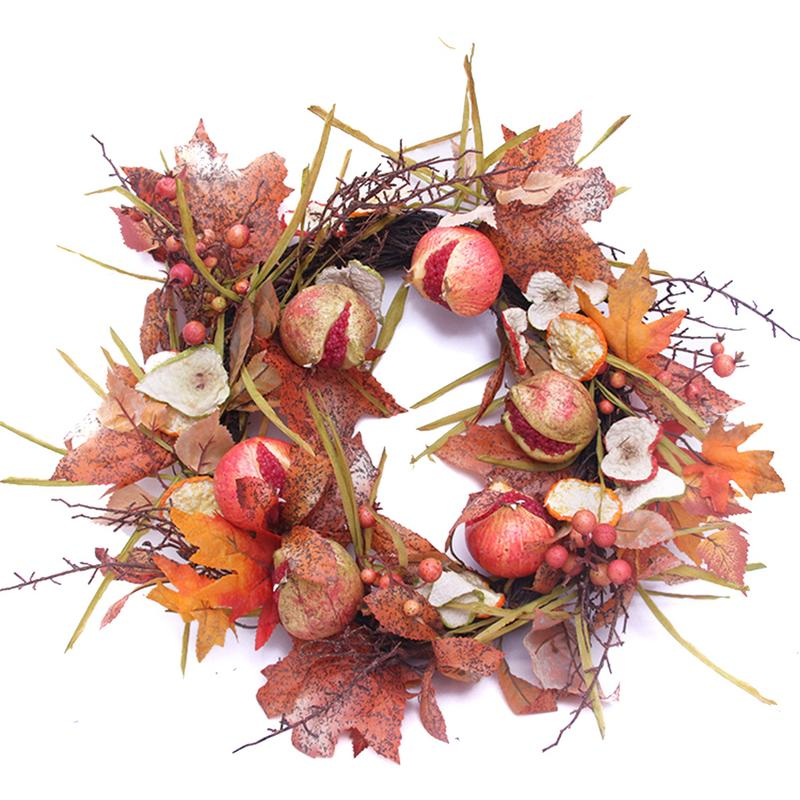Autumn Maple Leaf Pomegranate Berry Wreath Thanksgiving Halloween Door Home Decor