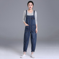 New Arrived Autumn Women Wide Leg Loose Ripped Denim Overalls Casual Jumpsuit Boyfriend Style Pockets Jeans