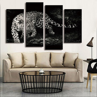 FOUR PC NO FRAME Black And White Leopard Oil Painting Printed Oil Painting On Canvas Oil
