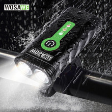 WOSAWE USB Rechargeable Bicycle Flashlight 2400 Lumens with Built-in Li Batteries Bike Light 2-XML-3 LED Lamp Bike Light 5 Modes wosawe 2400 lumens bicycle light with 18650 built in batteries usb rechargeable bike light 2 xml led lamp flashlight 5 modes