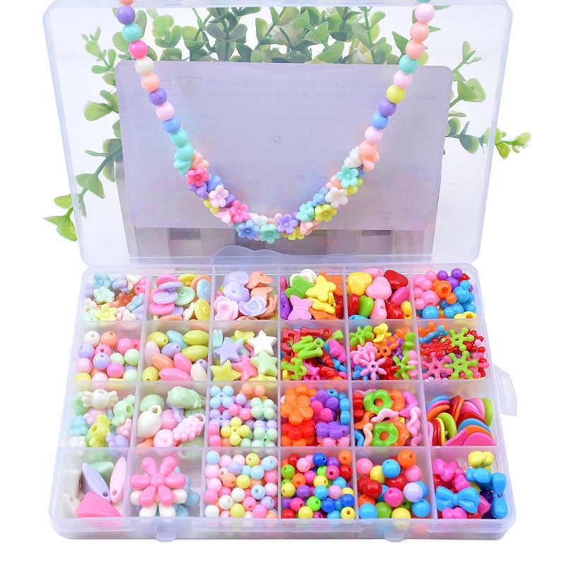 Sortierte Kunststoff Acryl Bead Kit Zubehör DIY Spielzeug Schmuck Machen Kinder Perlen Set Kreative Geschenke für kinder