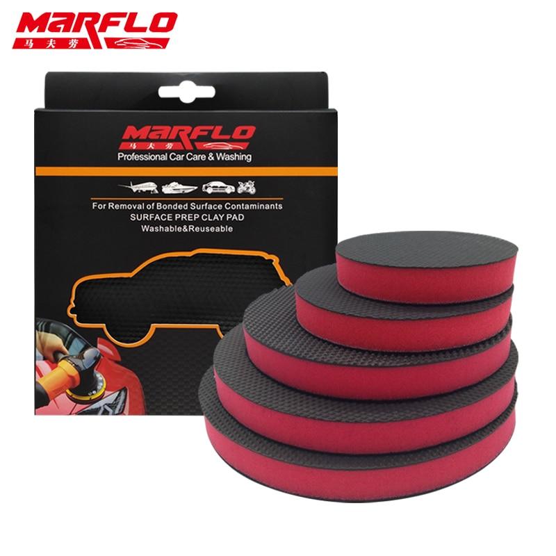 Волшебная глина для автомойки MARFLO, губка-Mitt, полировальная прокладка, аппликатор для воска, уход за автомобилем, восстановление покраски ав...