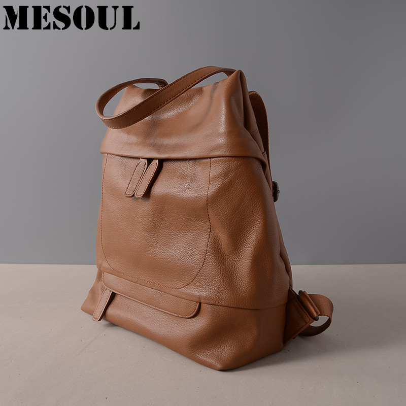 Female backpack Genuine Leather Bags For Girls School Backpack brown Rucksack Fashion Soft Cow Leather Women Shoulder Tote Bags