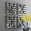 Arte da parede D-F1308 espelho quadrado de fretwork da decoração da parede espelhada