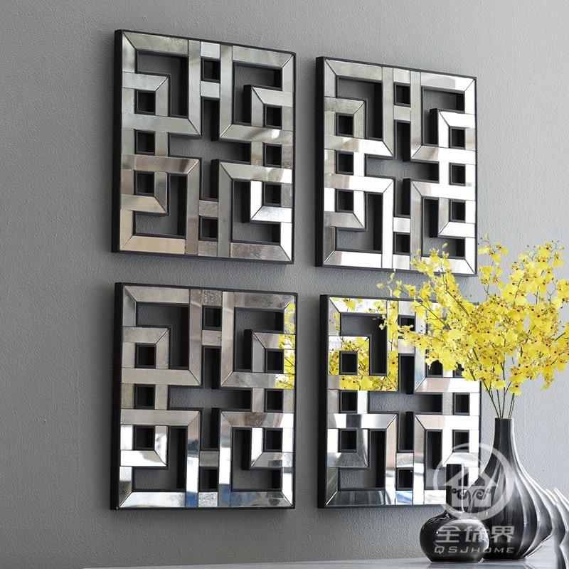 Mirrored Wall Decor Fretwork Square Mirror Framed Wall Art D-F1308