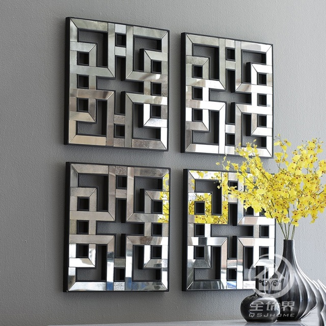 Incroyable Mirrored Wall Decor Fretwork Square Mirror Framed Wall Art D F1308