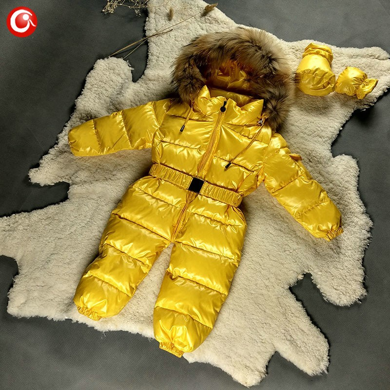6M-4T Baby Girls White  Duck Winter Down Coat +Down Gloves Clothes Kid Boys Ski Snow Thick Hooded Warm Jacket Clothing Snowsuit (6)