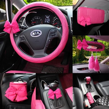 Sexy Rose Bowknot For Car Interior Steering Cover Rearview Mirror Seat Belts Padding