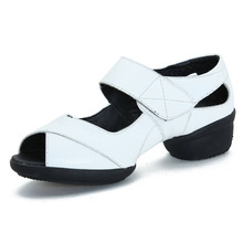 Leather Shoes For Women With Soft Bottom Female Dance Dance Sneakers Women Shoes New Sandals Shoes Modern Square Saltat