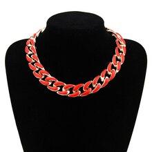 FishSheep Statement Bohemian Long Chain Necklace For Women Acrylic Choker Collier Femme Necklace Pendant Bijoux Fashion Jewelry