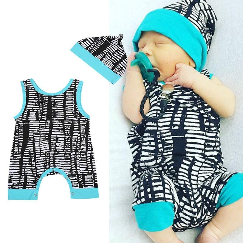 New fashion  Newborn Baby Boy Girl Romper & Hat Outfits Sleeveless Clothes Set 2pcs 0-24M new fashion boy