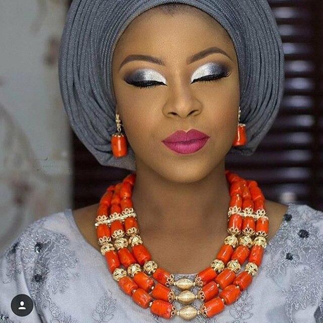 Truyền thống Wedding Beads Bộ Đồ Trang Sức Châu Phi Nigeria Coral Hạt Trang Sức Set Vàng Đồ Trang Sức Phụ Kiện 2017 Miễn Phí Vận Chuyển CNR805