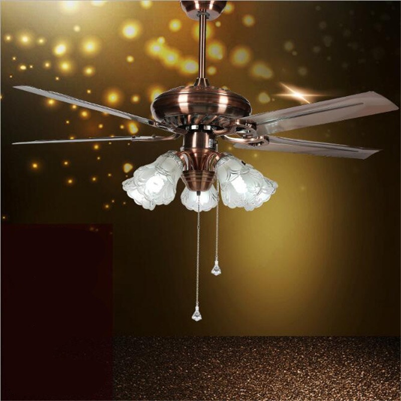 52 European Classical Copper Iron Leaf Led E27*5 Ceiling Fan Light For Dining Room Living Room Bedroom Deco 1587 Lights & Lighting