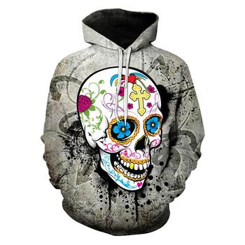 Funny Street Hoodie Floral Skull Print 3D Hoodie Sweatshirt Moletom Hooded Hip-Hop Pullover Enlarge Size 5XL hooded 3d fireworks print flocking trippy hoodie