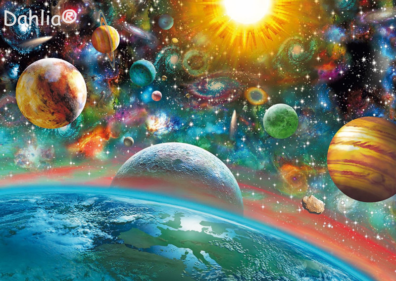 Outer Space Planet Scenery Handmade Needlework Embroidery DIY DMC Cross Stitch Kits Crafts 14CT Unprinted Home Decor Wall Arts