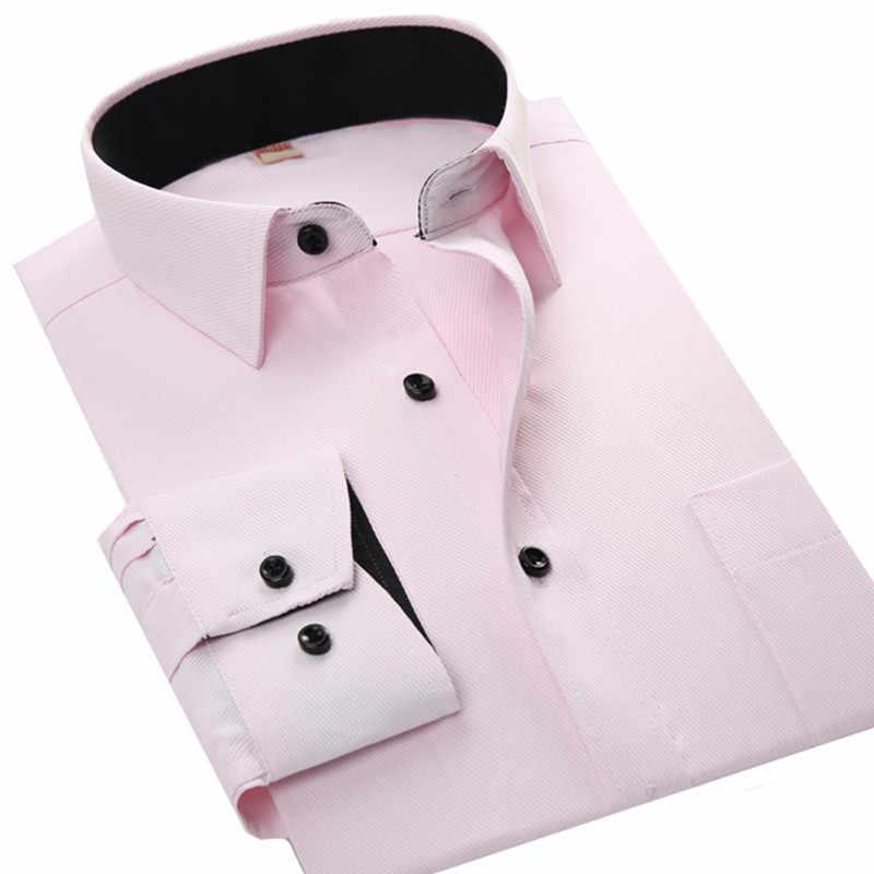 Базовая Офисная Рабочая Рубашка Для мужчин с длинным рукавом Твердые Цвет белый черный, розовый синий и красный цвета Мужская рубашка Camisa Masculina социальной Homme
