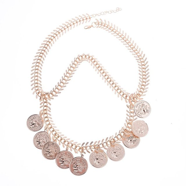 Coin anklet with thick chain. Gold color