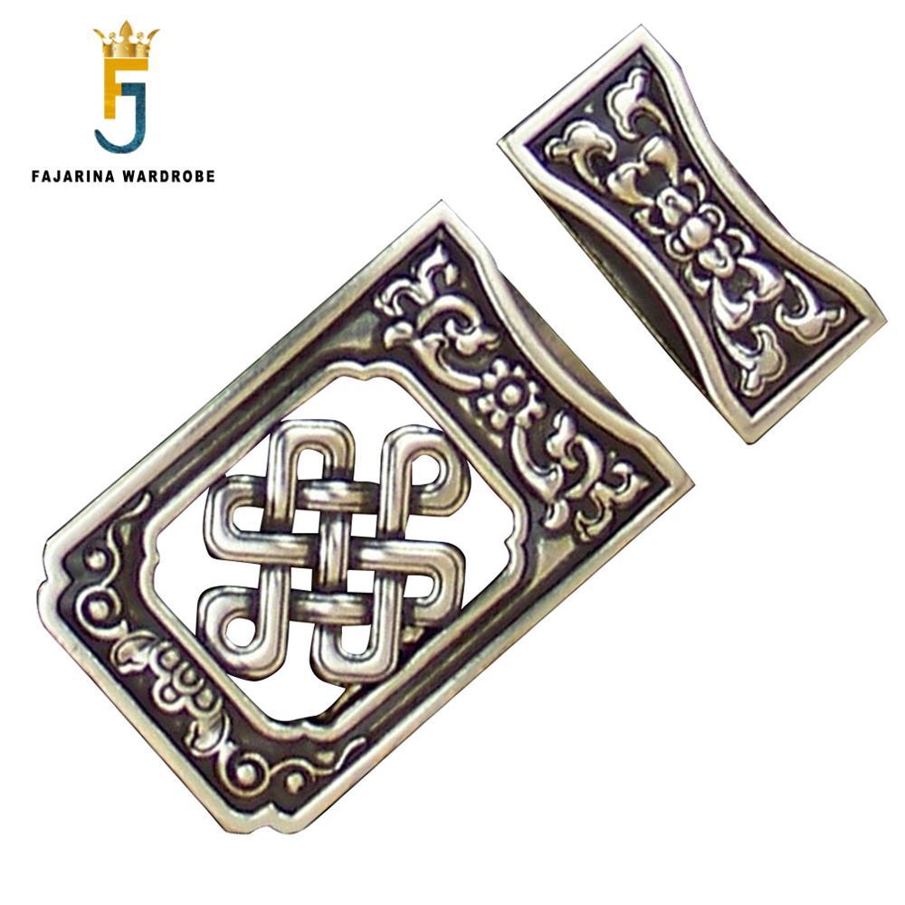 FAJARINA New Unique Design Plate With Silvery Retro Style Belt Buckle Slide Buckles For 3.6-4.0cm Width Smooth Belts BCK033