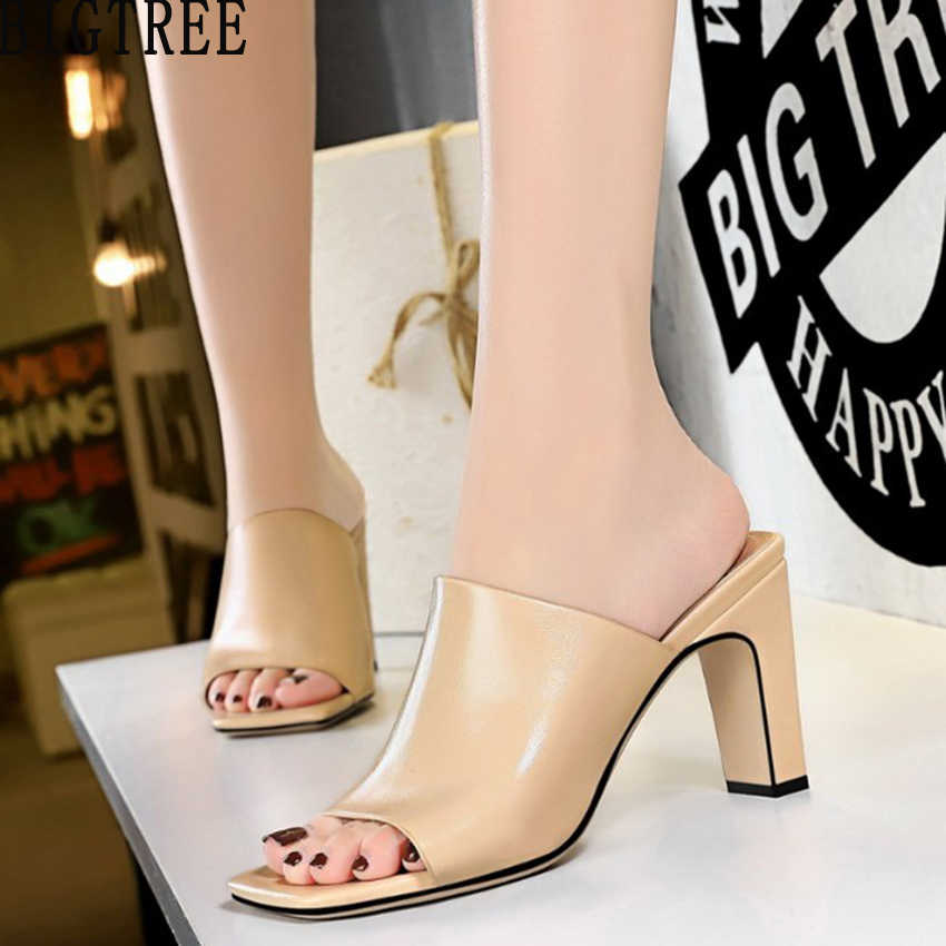 bb1fb2829a BIGTREE Women Slides Mules Casual Summer Shoes Faux Leather Woman Sandals  Open Square Toe High Heel