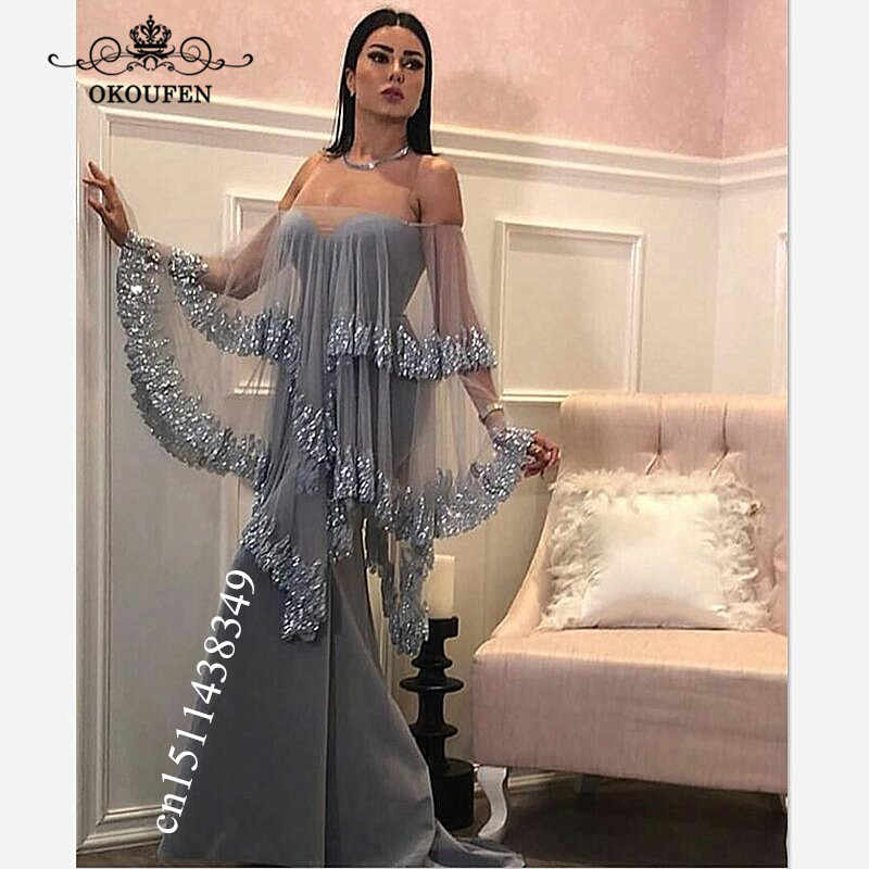 a4944c7a22b60 ... Cape Cloak Mermaid Evening Dress For Women 2019 Appliques Edge Beads  Sheer Neck Long Party Prom. RELATED PRODUCTS. Arabic ...
