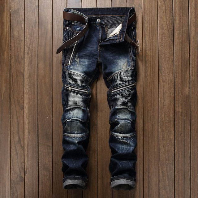 Newsosoo Men's Pleated Biker Jeans Pants Slim Fit Brand Designer Motocycle Denim Trousers For Male Straight Washed Multi Zipper 1