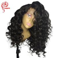 Hesperis вьющиеся Glueless Full Lace парик с ребенком волос бразильского Волосы remy полные парики шнурка для девушку предварительно сорвал парики