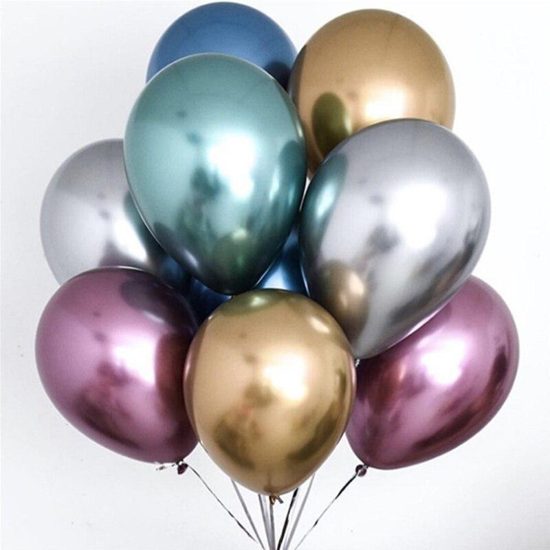 10 шт 5/10/12 дюймов глянцевые металлические жемчужные латексные шары толстые Хромированные Металлические цвета гелиевый воздух шары Globos декор для дня рождения-0
