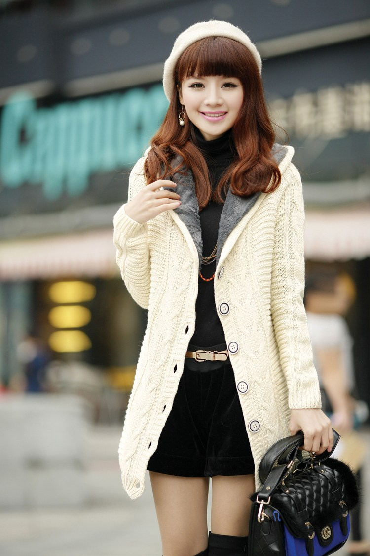 New 2016 Winter Women Twist Button Long Hooded Cardigan Thickening ...