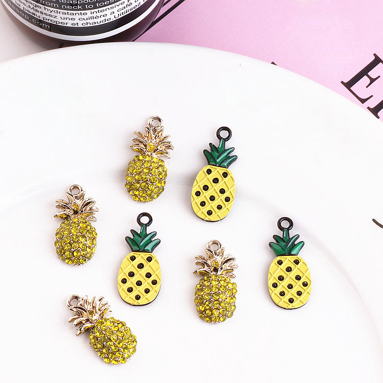 New arrived 20pcs/lot colorful alloy fuirt style cartoon pineapple shape floating locket pendants charms diy jewelry finding
